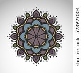 vector abstract flower mandala. ... | Shutterstock .eps vector #523929004