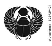 scarab icon in black style... | Shutterstock .eps vector #523929424