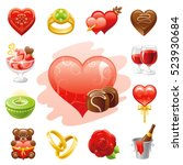 romantic dating icon set.... | Shutterstock .eps vector #523930684