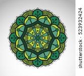 vector abstract flower mandala. ... | Shutterstock .eps vector #523932424