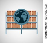warehouse boxes with globe icon ... | Shutterstock .eps vector #523932760