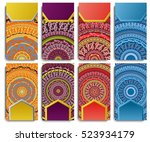 set of visiting card with... | Shutterstock . vector #523934179