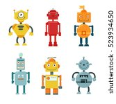 set of cute funny robots on a... | Shutterstock .eps vector #523934650