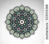 vector abstract flower mandala. ... | Shutterstock .eps vector #523935388