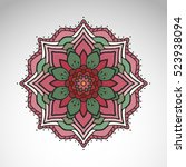 vector abstract flower mandala. ... | Shutterstock .eps vector #523938094