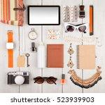 travel concept   women set with ... | Shutterstock . vector #523939903
