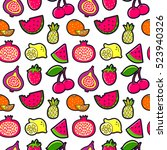 seamless pattern with fashion... | Shutterstock .eps vector #523940326