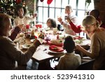 family together christmas... | Shutterstock . vector #523941310