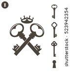 key. logo. abstract keys on... | Shutterstock .eps vector #523942354