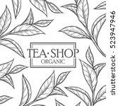 organic green white black tea... | Shutterstock .eps vector #523947946
