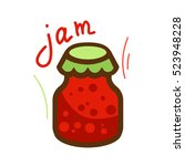 the jar of jam and red berry... | Shutterstock .eps vector #523948228