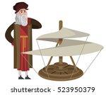 da vinci invention helicopter | Shutterstock .eps vector #523950379