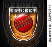 cricket ball in center of... | Shutterstock .eps vector #523950544