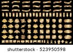 ribbon banner label gold vector ... | Shutterstock .eps vector #523950598