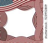 border with american flag with... | Shutterstock .eps vector #523952809