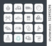 Logging Line Icons Set  Timber...