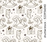 vector seamless pattern with... | Shutterstock .eps vector #523956040