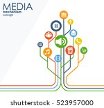 media mechanism concept. growth ... | Shutterstock .eps vector #523957000