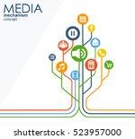 media mechanism concept. growth ... | Shutterstock .eps vector #523957000