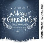 christmas and new year... | Shutterstock .eps vector #523958500