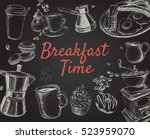 breakfast hand drawn set vector ... | Shutterstock .eps vector #523959070