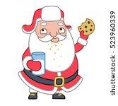 santa having milk and cookies ...   Shutterstock .eps vector #523960339