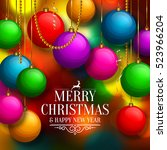 christmas background with... | Shutterstock .eps vector #523966204