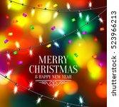 christmas light bulbs and... | Shutterstock .eps vector #523966213