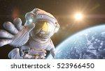 astronaut in an outer space  3d ... | Shutterstock . vector #523966450