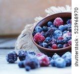 frozen food. berries.... | Shutterstock . vector #523968970