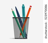 pen and pencil in holder basket ... | Shutterstock .eps vector #523970086