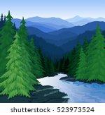 vector evening in beautiful... | Shutterstock .eps vector #523973524
