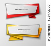 origami paper infographic... | Shutterstock .eps vector #523973770