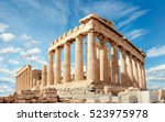 parthenon temple on a bright... | Shutterstock . vector #523975978