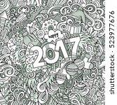 cartoon cute doodles hand drawn ... | Shutterstock .eps vector #523977676