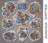 set of winter season cartoon... | Shutterstock .eps vector #523977820