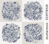 winter cartoon vector hand... | Shutterstock .eps vector #523978528