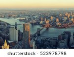 Stock photo manhattan downtown sunset rooftop view with urban skyscrapers in new york city 523978798