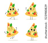 pizza slice. cute fast food... | Shutterstock .eps vector #523980829