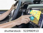 elderly woman using gps... | Shutterstock . vector #523980913