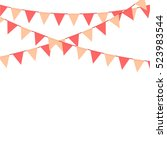 pink bunting flag decoration... | Shutterstock .eps vector #523983544