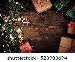 vintage christmas theme...   Shutterstock . vector #523983694