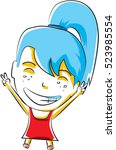 cute little girl being happy ... | Shutterstock .eps vector #523985554