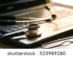 selective focus health care... | Shutterstock . vector #523989280