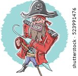 angry pirate vector... | Shutterstock .eps vector #523991476