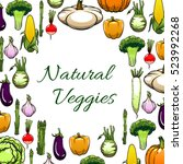 natural veggies frame with... | Shutterstock .eps vector #523992268