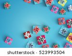 happy birthday and gift box on... | Shutterstock . vector #523993504