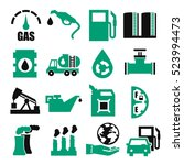 gasoline  gas  oil icon set | Shutterstock .eps vector #523994473