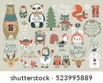 Stock vector christmas set hand drawn style calligraphy animals and other elements vector illustration 523995889
