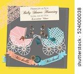 twins baby shower invitation...   Shutterstock .eps vector #524000038
